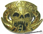 Go To Hell Solid Brass Belt Buckle with display stand